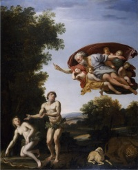 CTS336339 The Expulsion of Adam and Eve (oil on canvas) by Domenichino (Domenico Zampieri) (1581-1641); 68.6x54.6 cm; Chatsworth House, Derbyshire, UK; © Devonshire Collection, Chatsworth Reproduced by permission of Chatsworth Settlement Trustees; Italian, out of copyright
