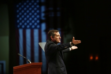 ORLANDO, FL - NOVEMBER 13: Republican presidential candidate Sen. Ted Cruz (R-TX) speaks during the Sunshine Summit conference being held at the Rosen Shingle Creek on November 13, 2015 in Orlando, Florida. The summit brought Republican presidential candidates in front of the Republican voters. (Photo by Joe Raedle/Getty Images)